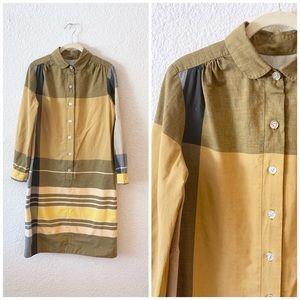 Vintage MCM Shift Button Up Dress Mod Long Sleeve